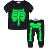 Glow in The Dark Skeleton Boys Pajamas Sets Short Sleeve Summer Black