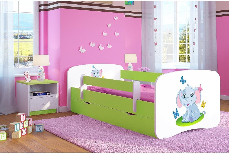CARELLIA 'Kinderbett Elephant 80x 180cm mit Barriere Sicherheitsschuhe + Lattenrost + Schubladen + Matratze Offert.–Limettengrün