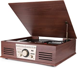 D&L Vinyl Record Player, Wood 6-in-1 Bluetooth Phonograph Built-in Stereo Speakers, FM Radio, USB/SD Play & Encoding,Turntable Vinyl Records (Mahogany)
