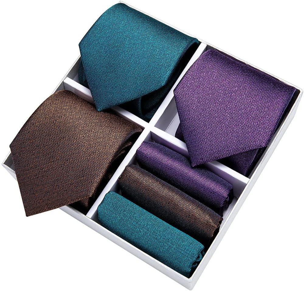 CDQYA 3 Pack Gift Box Men's Tie Set For Men 8cm Business Silk Necktie Hanky Cufflinks Clip Wedding (Color : Jacquard, Size : One size)