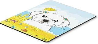 Caroline's Treasures BB2076MP Maltese Summer Beach Mouse Pad, Hot Pad or Trivet, Large, Multicolor