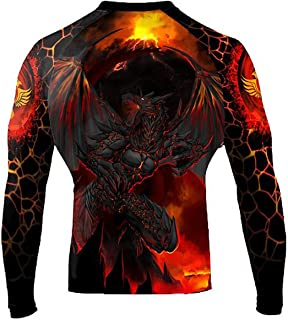 Raven Fightwear Men's Lava Dragon Rash Guard MMA BJJ Black
