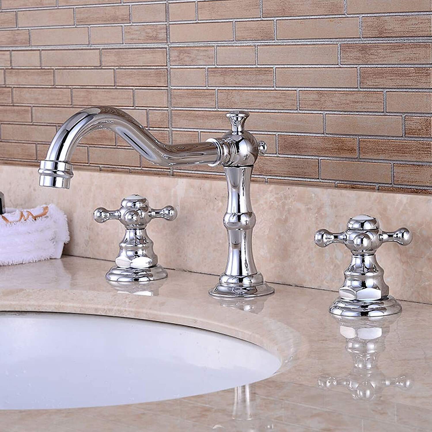 Bathroom Sink Faucet - Pre Rinse Waterfall Widespread Chrome Centerset Two Handles Three Holes,58 x 8 cm,58 X 8 cm