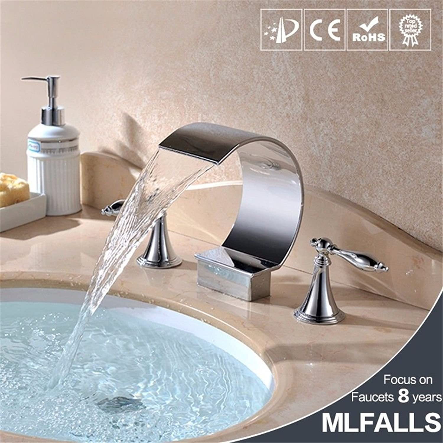 Lalaky Taps Faucet Kitchen Mixer Sink Waterfall Bathroom Mixer Basin Mixer Tap for Kitchen Bathroom and Washroom Full Copper Chrome Waterfall Hot and Cold Hands