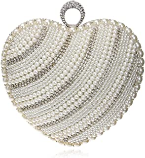 Women's Heart-Shaped Evening Bag, Handbag, Clutch, Messenger Bag, Rhinestone Pearl Decoration, Suitable for Family Gatherings, Dating (Color : White)