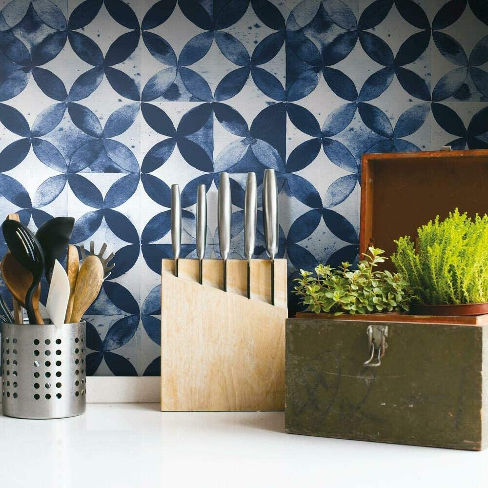 RoomMates Indefinitely Outlet ☆ Free Shipping RMK11354RL Paul Brent Blue Stic Peel Tile Moroccan and