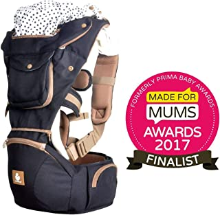 Baby Carrier Front and Back Hip Seat Sling by Kiddihug - Comfortable Ergonomic with Soft-Padded Waist Support - Award Winning New Style Designer Quality Performance 6 in 1 Baby Carrier (Black)
