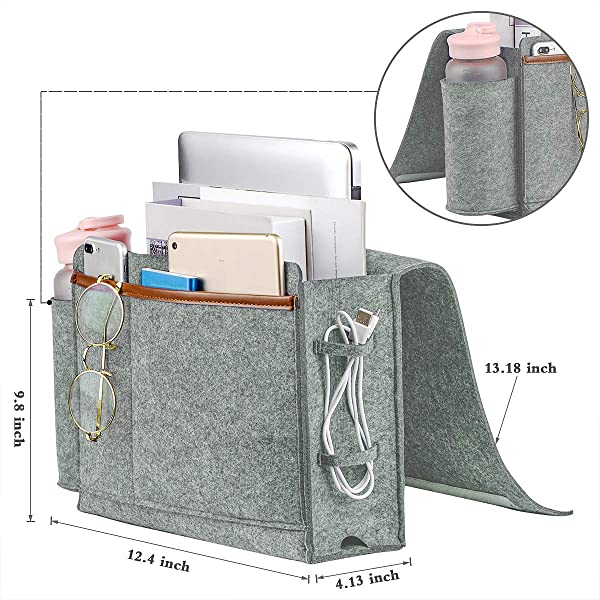 Bedside Caddy Thick Sofa Storage Organizer Table Cabinet Hanging Storage Organizer Holder Bag For Laptop Book Phone Charger Bottle And Other Ideal For Dorm Kid Bunk Bed Sofa Hospital Bed Gray