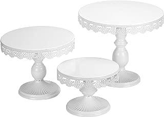 VILAVITA Set of 3 Cake Stands Round Cupcake Stands Metal Dessert Display Cake Stand, White