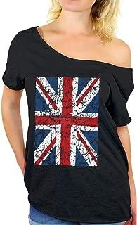 Women's Union Jack Flag Off Shoulder Tops T-Shirt