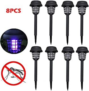 FILOL 8PC Solar Powered Bug Zapper Mosquito Killer UV LED Light, Lamp Waterproof Solar Mosquito Ant Fly Bug Lighting in The Outdoor Ground Garden Patio Lawn Residential