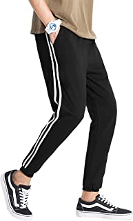 Ma Croix Mens Stripe Jogger Fleece Sweatpants Athletic Training Casual Pants with Pockets