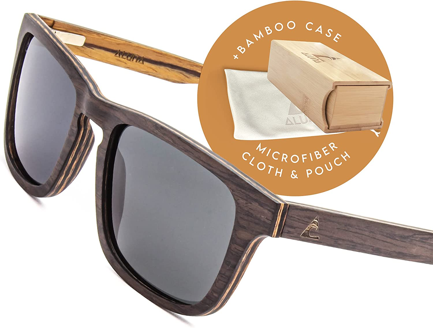 Aluna – Exotic Wood Sunglasses for Women and Men, Wooden Sunglasses with Hd Polarized Lenses