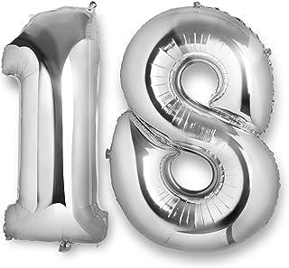 Vordas Ballon 18 Ans Géant - Ballons d'Hélium Foil NO.18 XXL Géant Ballon Chiffre pour Anniversaire de Mariage Anniversair...