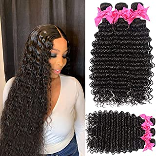 Deep Wave Wet and Wavy Curly Weave Human Hair Bundles 10A Unprocessed Brazilian Human Virgin Hair Weave Bundles Can be Dye...