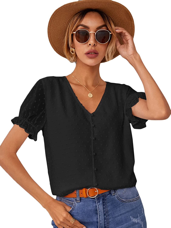 Milumia Women's Swiss Dots Puff Sleeve V Neck Button Down Sheer Blouse Shirt Top