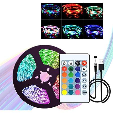 WOWOONE LEDテープライト5V USB LEDテープ5m /196.8in,RGB TVバックライトTVルーム用の2835照明24キーリモートコントローラー付きホリデーデコレーションライトストリップ
