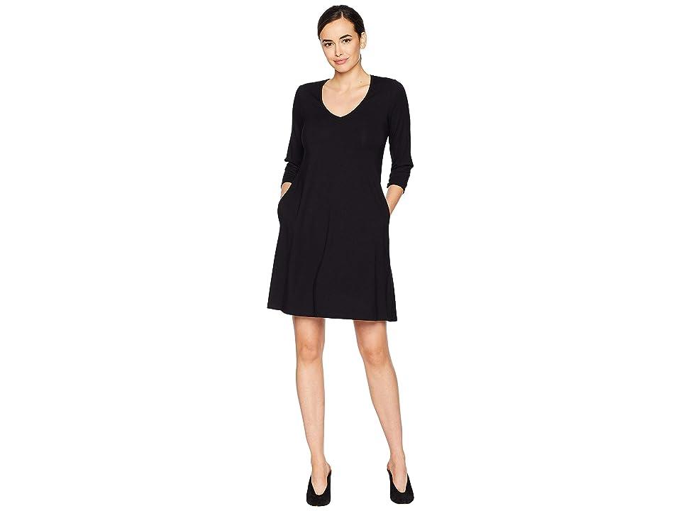 Karen Kane Quinn 3/4 Sleeve Pocket Dress (Black) Women