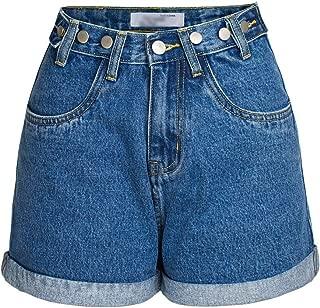 LUKEEXIN Womens High Waist Denim Shorts Rolled Blue Jean Shorts