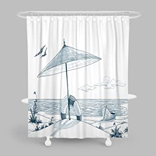 MuaToo Bathroom Shower Curtain,Cozy Beach Seagulls Ocean and Boat Drawing Print Bath Decor Polyester Fabric with Hooks 60 x 72 Inches,White and Blue