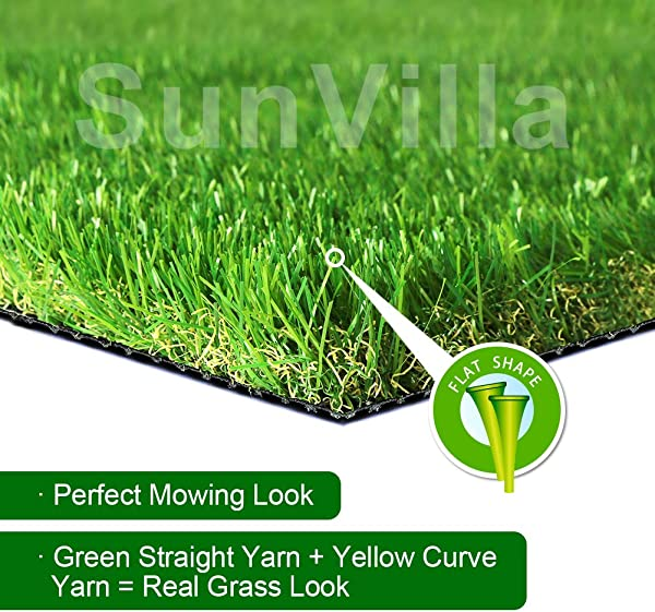 SunVilla SV7 X13 Realistic Indoor Outdoor Artificial Grass Turf 7 FT X 13 FT 91 Square FT