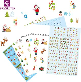 KADS 4pcs Christmas Nail Art Sticker Set Water Stickers For Nails Water Transfer Decal Beauty For Girls Women and Kids Decoration Nail Tools