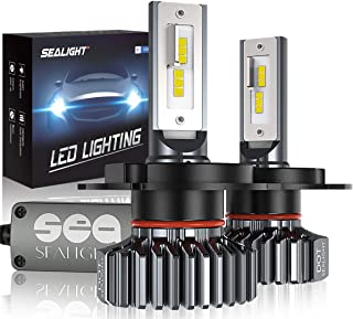 SEALIGHT H4/9003/HB2 LED Headlight Bulbs Hi/Lo Beam Plug and Play, 24xCSP Chips LED Automotive Headlamp - 6500lm 6000K White