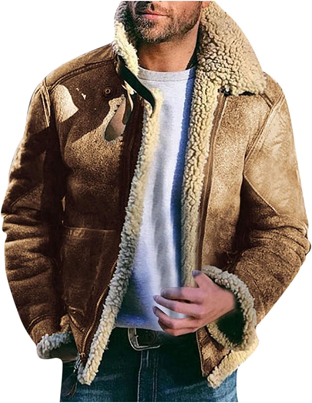 LEIYAN Mens Zip Up Fuzzy Fleece Jacket Long Sleeve Lapel Collar Winter Thicken Sherpa Lined Military Coat Outerwear