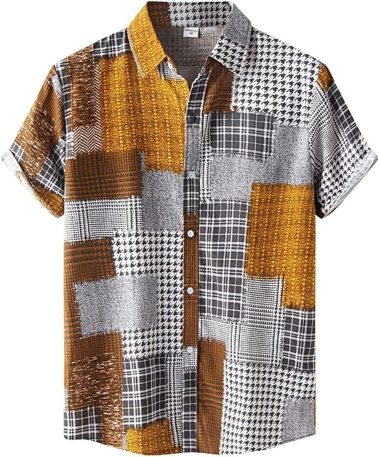 CFSNCM Plaid Print Hawaiian Shirt unisex Summer Sleeve Men 2021 new Short Lapel