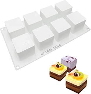 UG LAND INDIA 8 Cavity 3D Cube Shape Silicone Molds Cube Large, Dessert Molds for Pastry Mousse Cake Chocolate