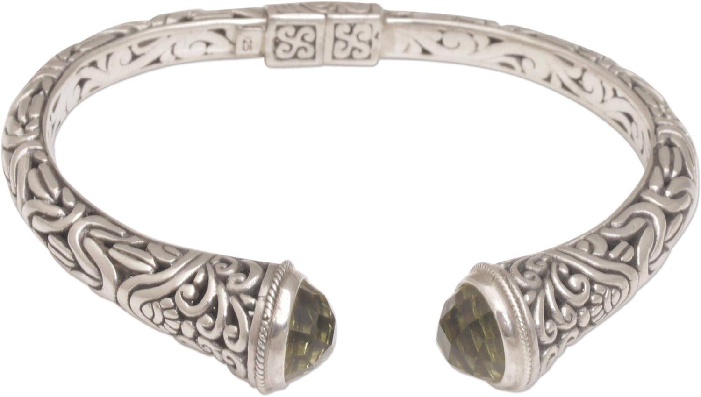 Max 67% OFF Max 53% OFF NOVICA .925 Sterling Silver Cuff with Bracelet End Prasiolite Ca