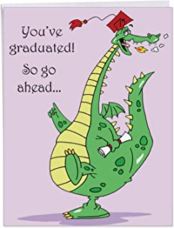 Dragon Graduate - Hilarious Happy Graduation Card with Envelope (Extra Large 8.5 x 11 Inch) - Funny Green Dragon, High School or College Grad Congratulations Notecard - Stationery Greeting J3557GDG