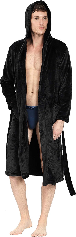 YIMANIE Mens Flannel Robe Hooded Shawl Ultra-Cheap Deals Bathrobe Our shop most popular Plush Sleep Long