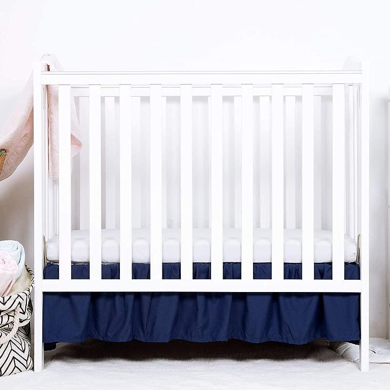 TILLYOU Mini Crib Skirt Ruffled Microfiber Portable Crib Bed Skirt For Baby Boys And Girls 24 X 38 10 5 Drop Navy Blue