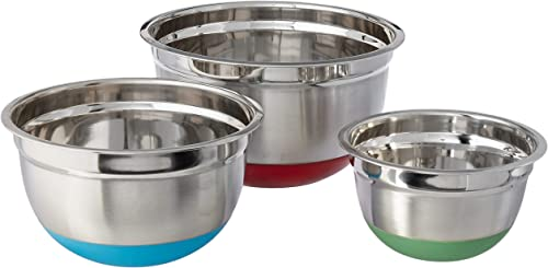 popular Cook Pro Stainless Steel Mixing Bowls with outlet online sale Non-Skid Base, Set of popular 3 sale