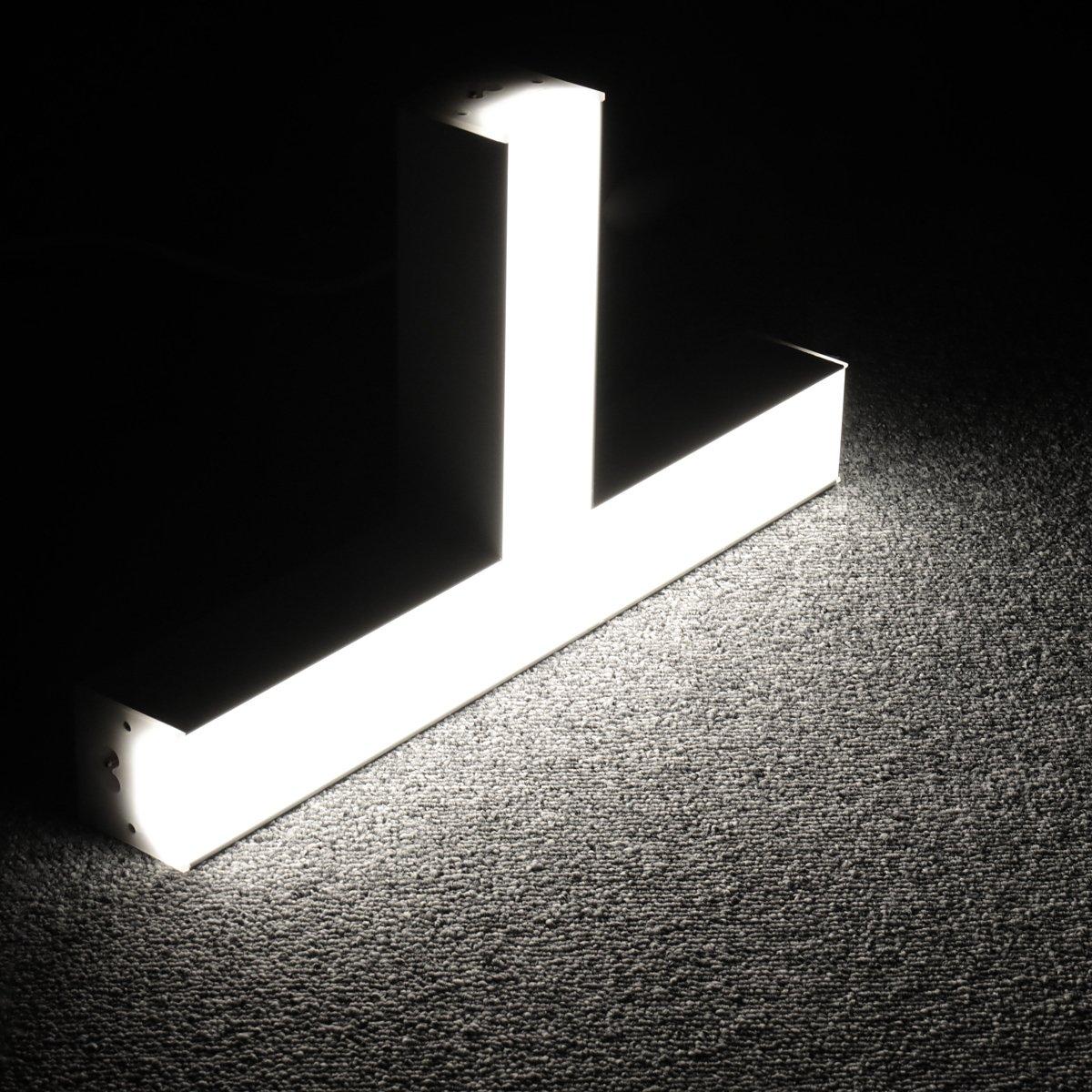 Lagute LEDGo DIYリニアモジュールLEDライトと電源コード、オフィス、ガレージ、ワークショップ、壁掛け式デイライト5000K-クールホワイト[T] 15W用の1.8m自由に組み立て可能なDIY照明器具
