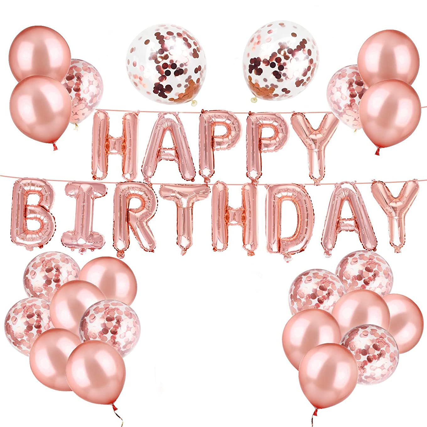 luckypopy Rose Gold Happy Birthday Balloons Confetti Balloons Kit Birthday Party Decorations and Supplies yuqdgmzuevlk