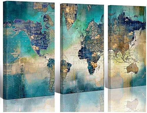 """Large World Map Canvas Prints Wall Art for Living Room Office """"16x32"""" 3 Piece Green World Map Picture Artwork Decor f..."""