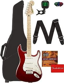 Fender Squier Standard Stratocaster Guitar - Maple Fingerboard, Candy Apple Red Bundle with Gig Bag, Tuner, Strap, Picks, and Austin Bazaar Instructional DVD