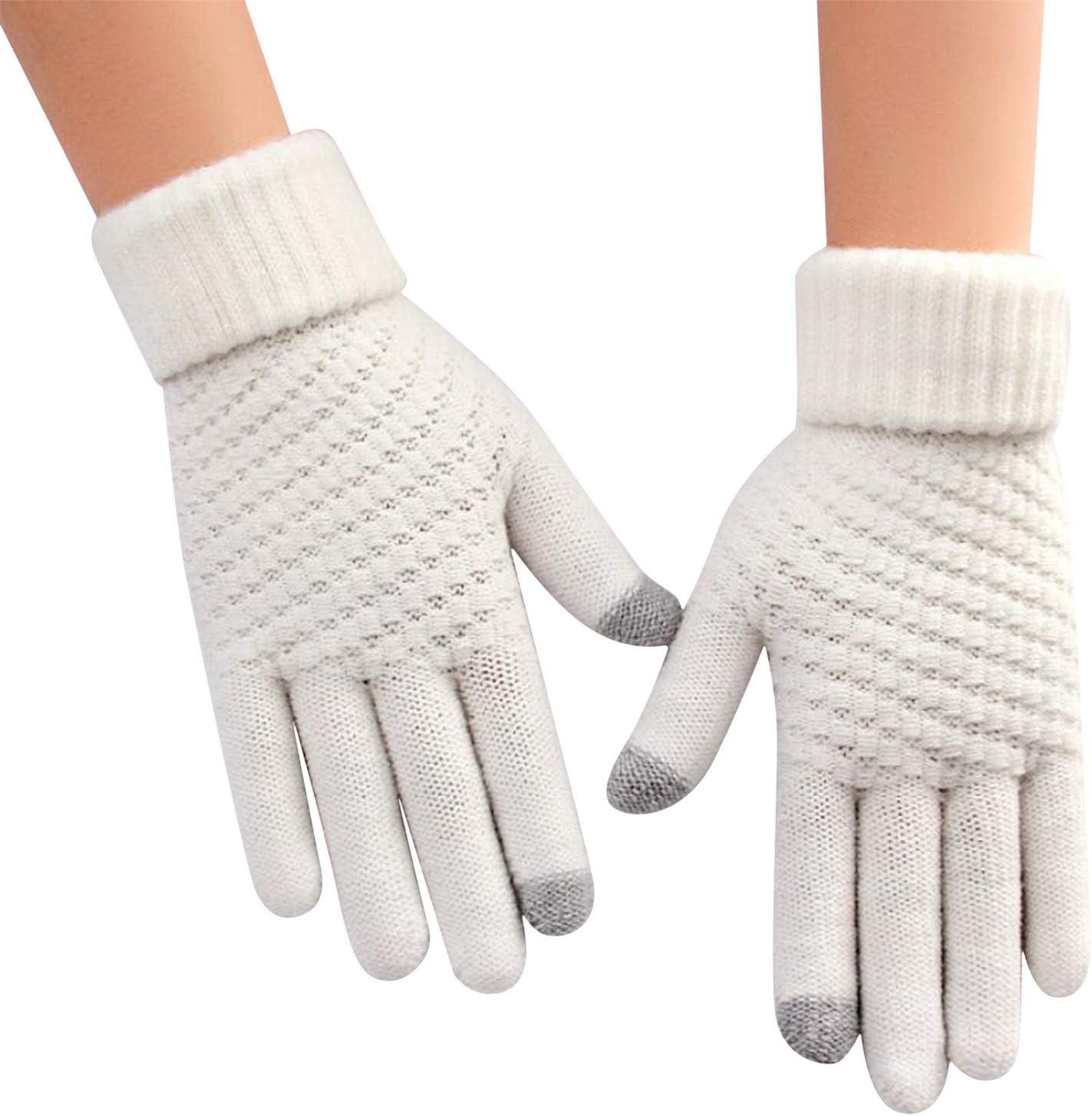 WEILYDF Women's Gloves Five-Finger Pineapple Pattern Winter Touch Thickened Warmth Velvet Knitted Soft Mittens Outdoor Accessories,White