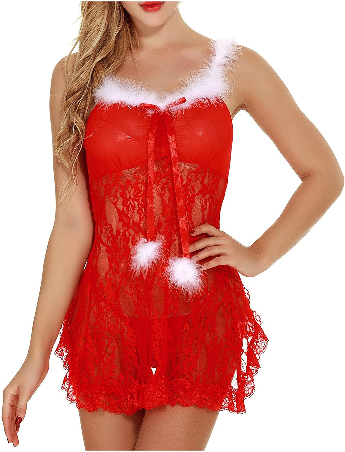 wodceeke Christmas Red Lace Mesh Sling Teddy Nightdress Babydoll See Through Pajamas Sexy Plus Size Lingerie for Women Sex