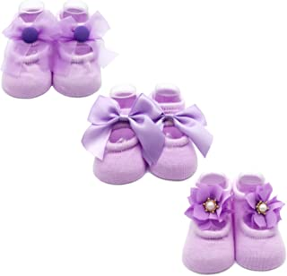Baby Girl Newborn Baby Photography Props Anti Slip Flower Pearl Bownote Socks