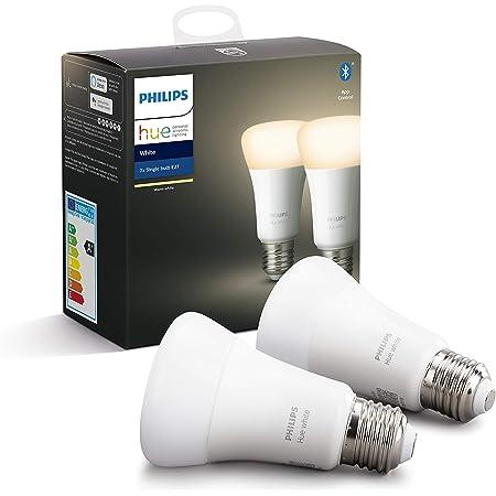 Philips Lighting Hue White Lampadine LED Connesse, con Bluetooth, Attacco E27, Dimmerabile, Luce Bianca Calda Dimmerabile, 2 Pezzi, Dispositivo Certificato per gli umani