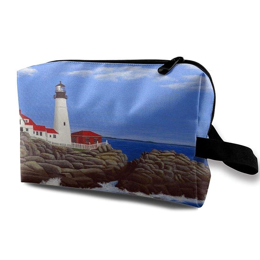 実験ピンチラダ灯台 化粧バッグ 収納袋 女大容量 化粧品クラッチバッグ 収納 軽量 ウィンドジップ
