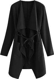 Women's Raw Cut Hem Waterfall Collar Long Sleeve Wrap Trench Pea Coat Cardigan