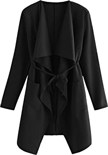 Women's Raw Cut Hem Waterfall Collar Long Sleeve Wrap Trench Pea Coat Cardigan