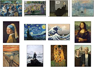 Wish Pub - 12 Most Famous Paintings in The World, Set of Unframed Fine Art Prints, 12x16 inch