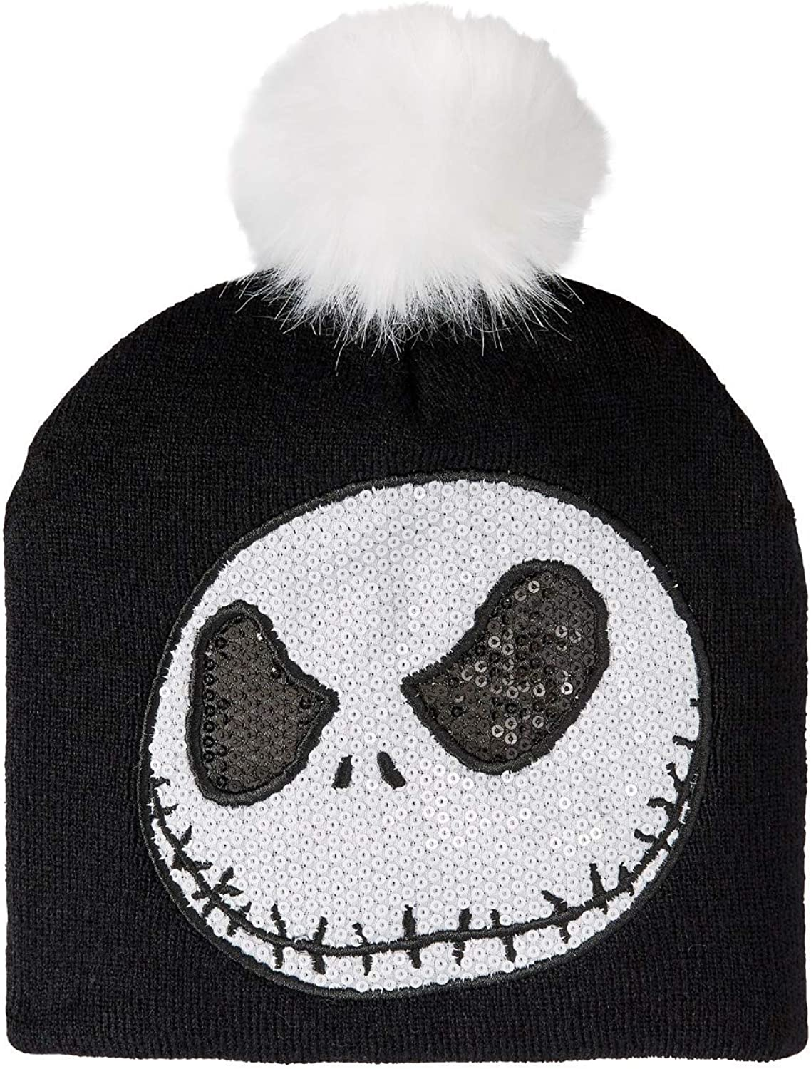 Disney Juniors Knitted Nightmare Before Christmas Sequin Jack Beanie with Pom Hat