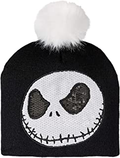 Juniors Knitted Nightmare Before Christmas Sequin Jack Beanie with Pom Hat