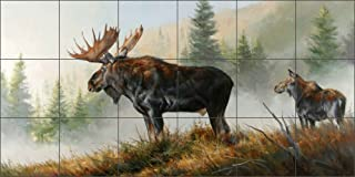 Lifting Mist by Edward Aldrich - Moose Wildlife Ceramic Tile Mural 36